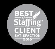2016 Best of Staffing Client Satisfaction Award Winner
